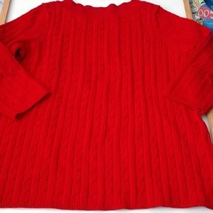 Talbots Woman Scoop Neck Cable Sweater 3/4 Sleeves